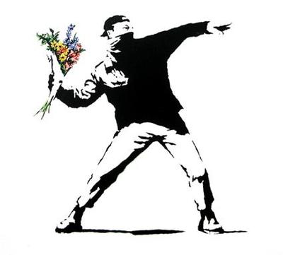 Medium banksy  flower thrower